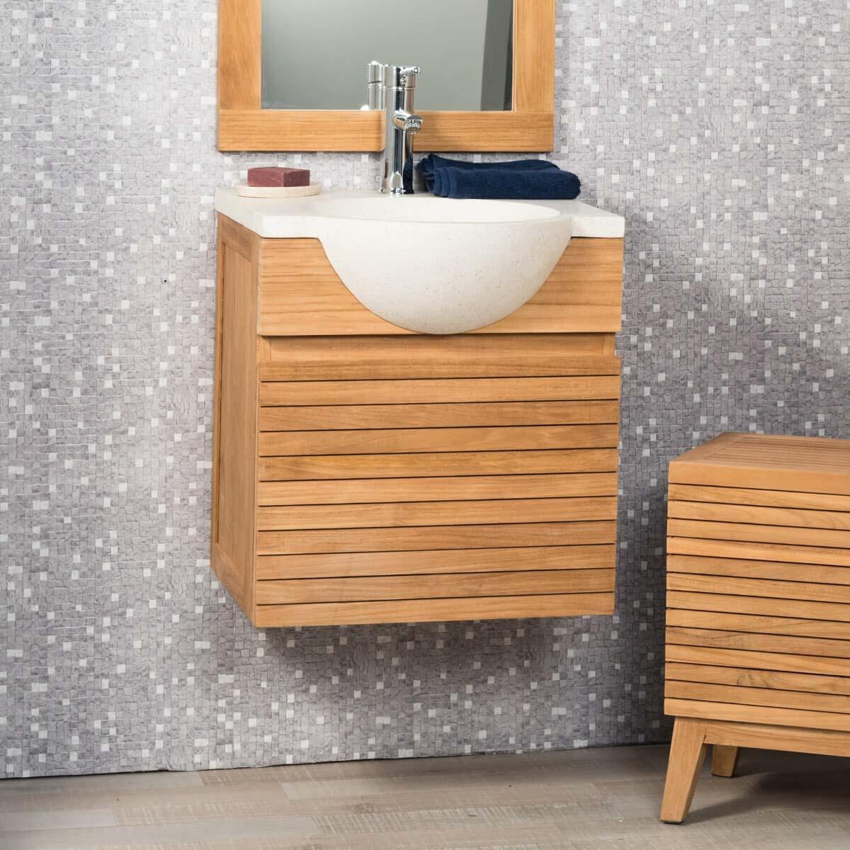 Mueble para lavabo simple de madera teca maciza contempor neo rect ngulo crema ancho 50 cm - Mueble lavabo madera ...