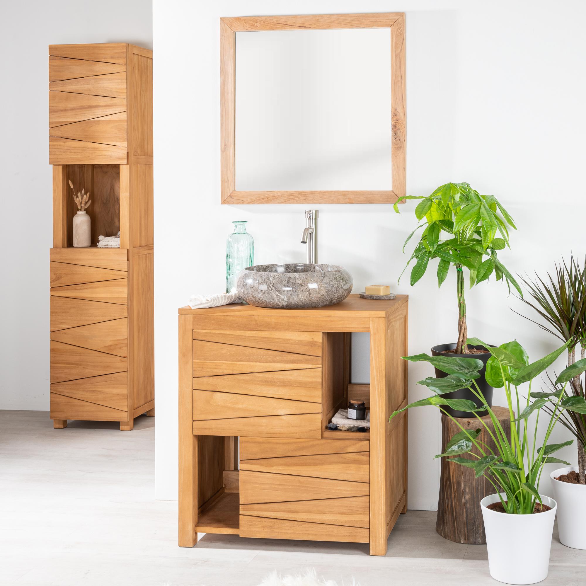 Mueble para lavabo mueble para lavabo teca cosy 70 cm for Muebles de lavabo de 70 cm