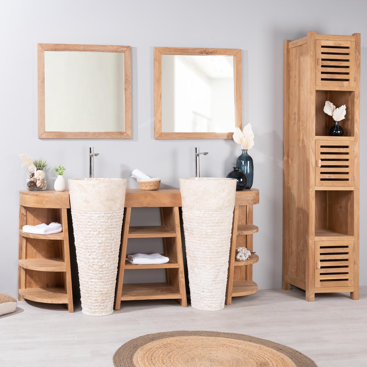 Mueble de ba o de teca florencia doble 180cm lavabos crema for Mueble de bano doble lavabo de madera