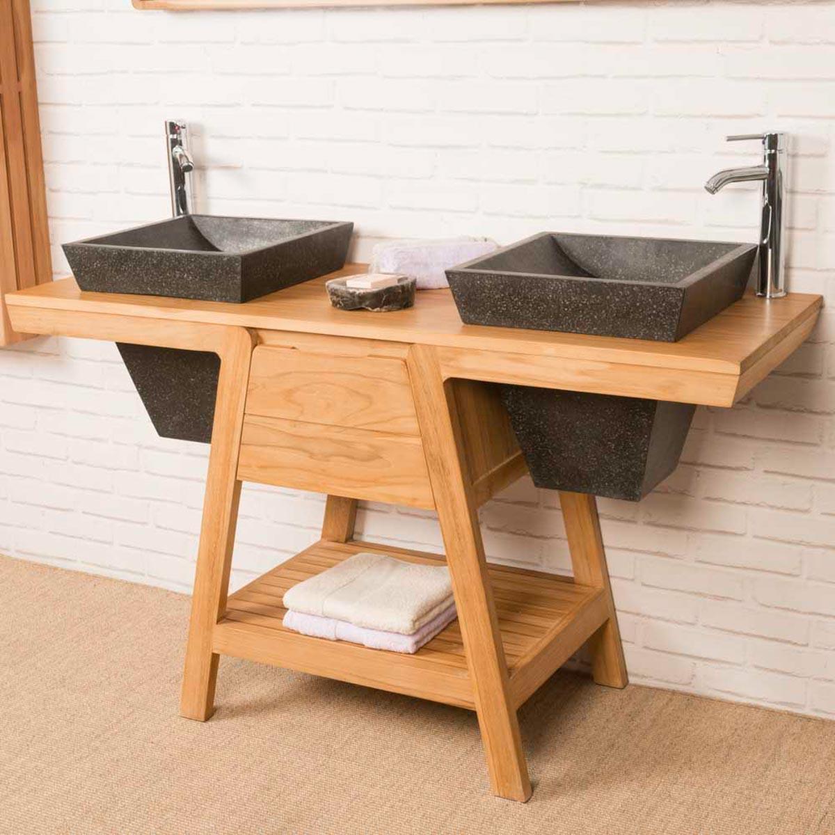 Mueble de ba o mueble de teca con lavabo kh ops 140 cm for Muebles de bano 140 cm