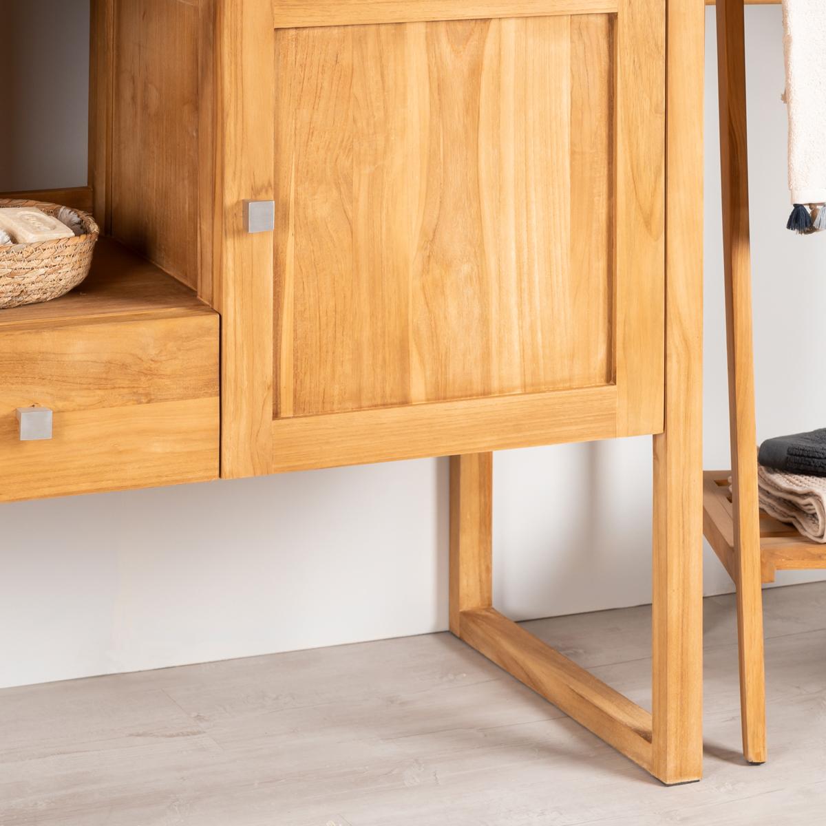 Mueble lavabo : Mueble de cuarto de baño, teca, 130 cm, THEA