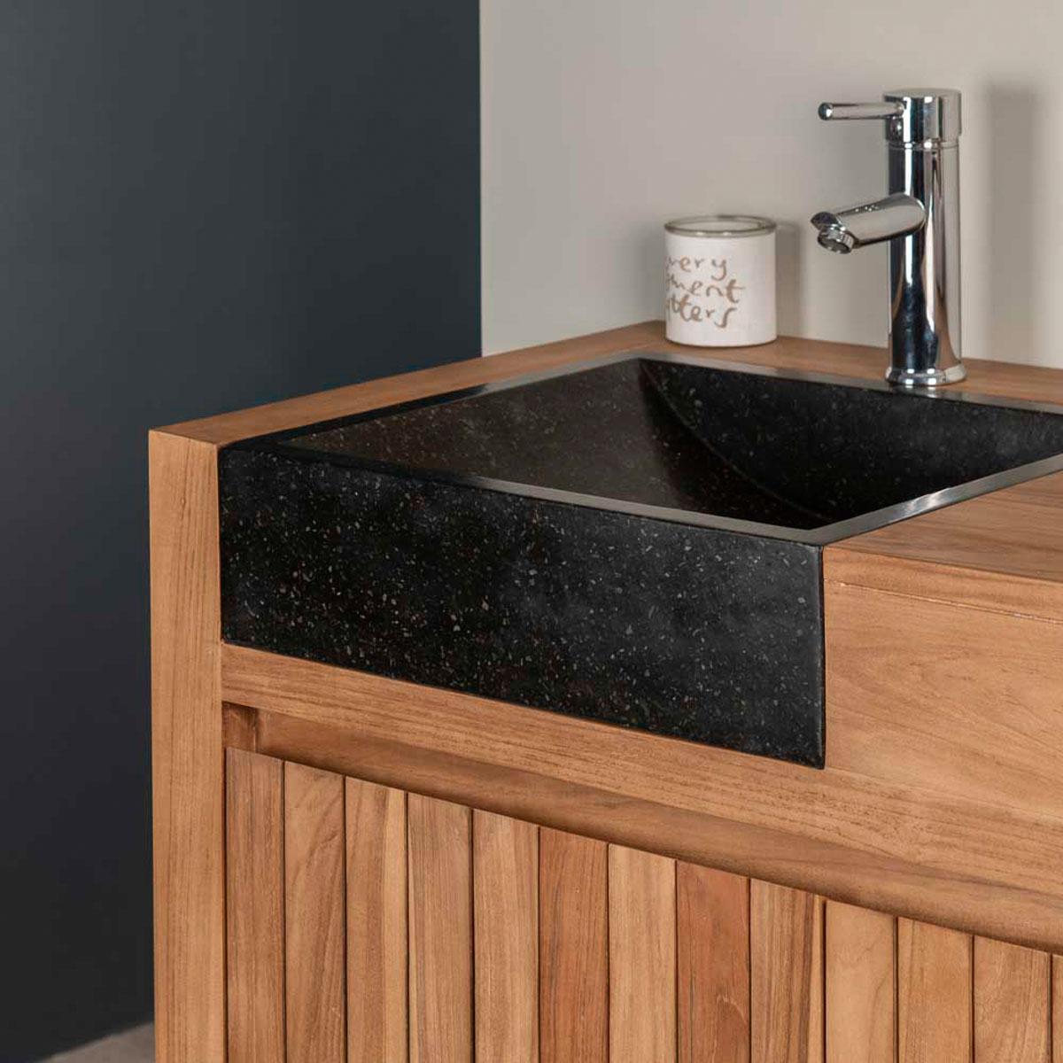 Mueble de teca lavabos para cuarto de ba o lujo 140 negro - Muebles de bano de lujo ...