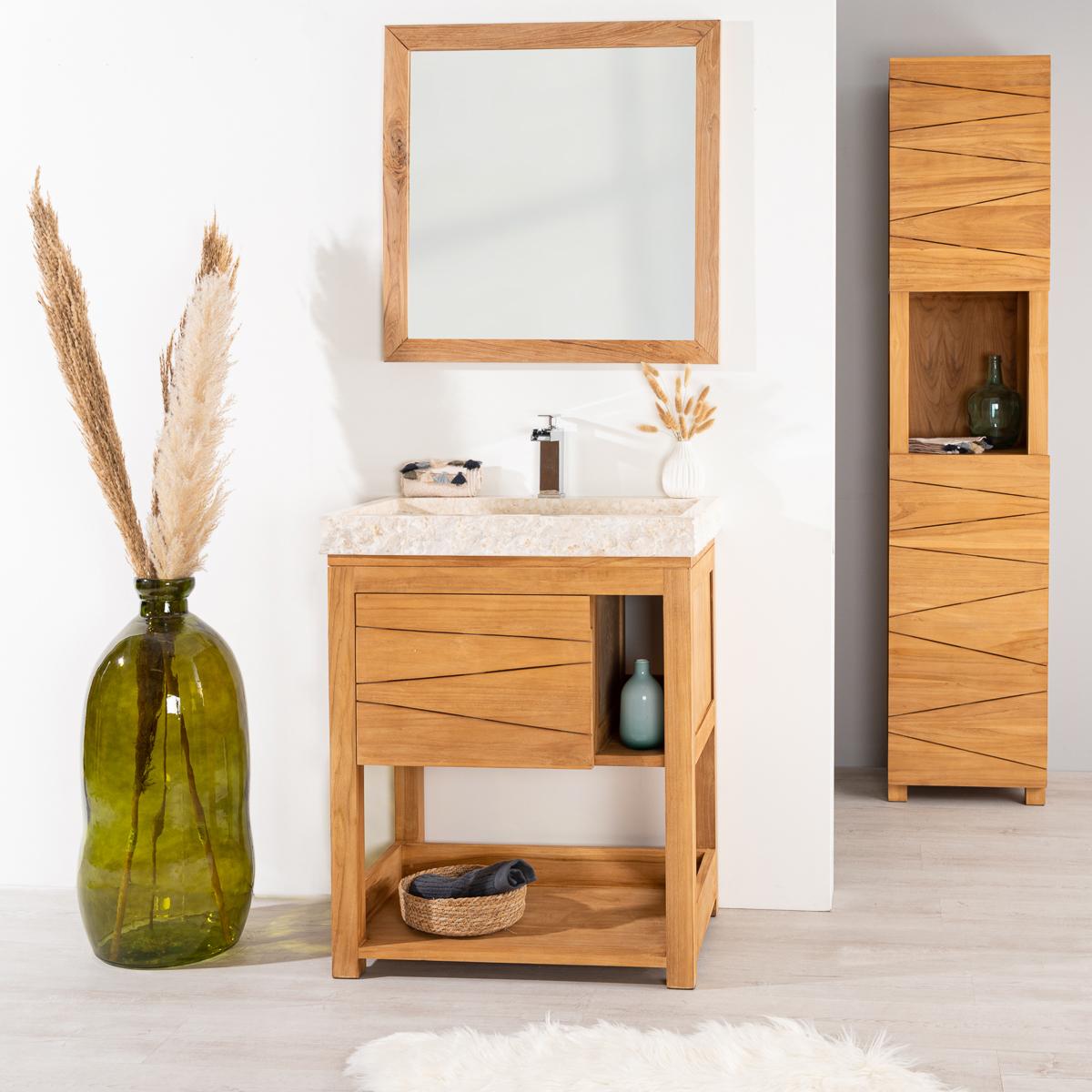 mueble de teca maciza cosy 67 cm lavabo crema