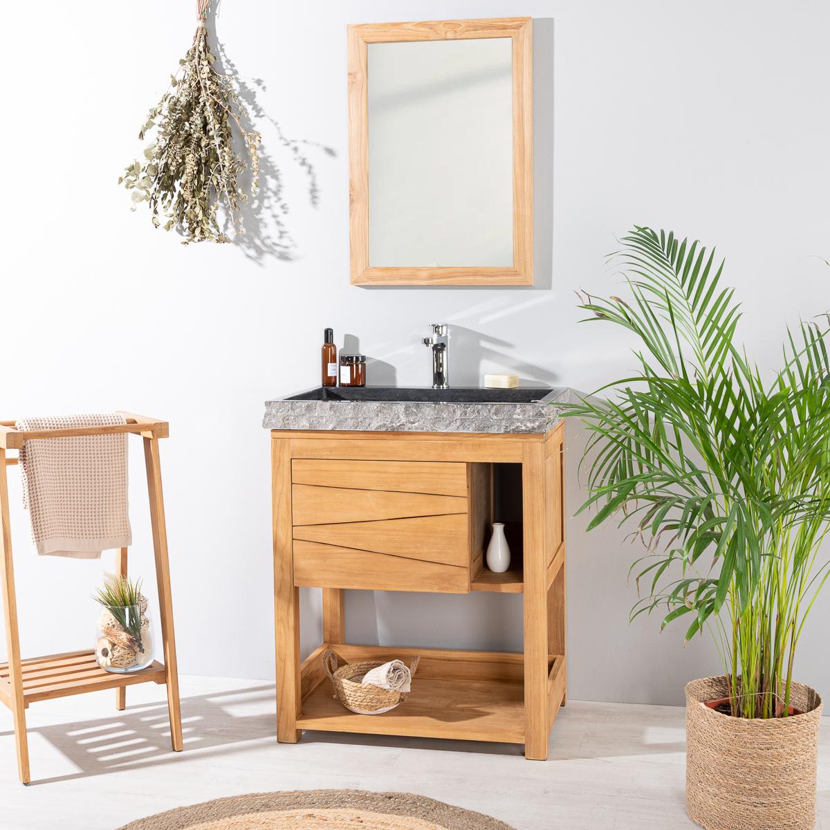 Mueble de cuarto de ba o mueble de teca con lavabo negro for Muebles de lavabo de 70 cm
