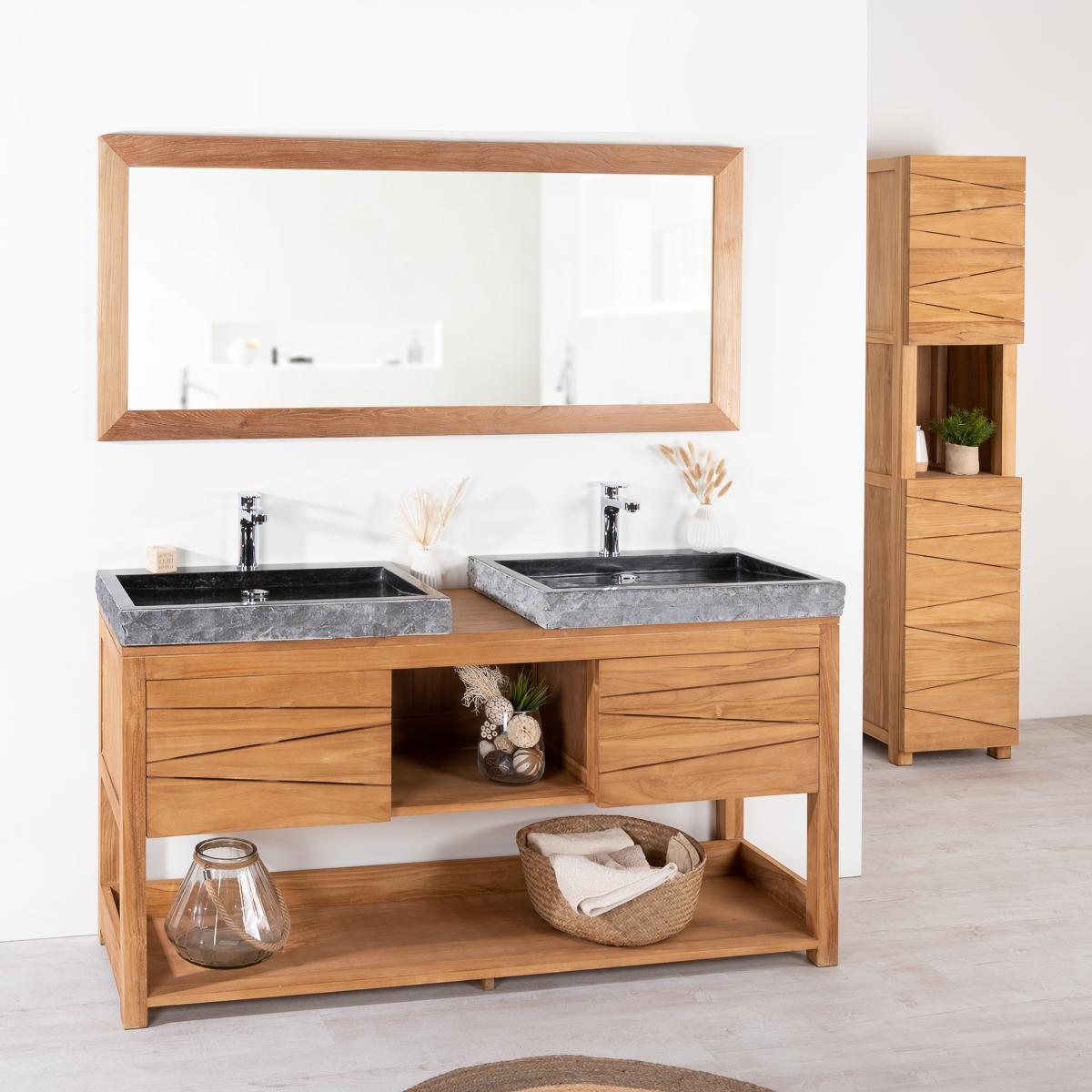 Mueble para lavabo de madera teca 2 lavabos de m rmol for Mueble de bano doble lavabo de madera