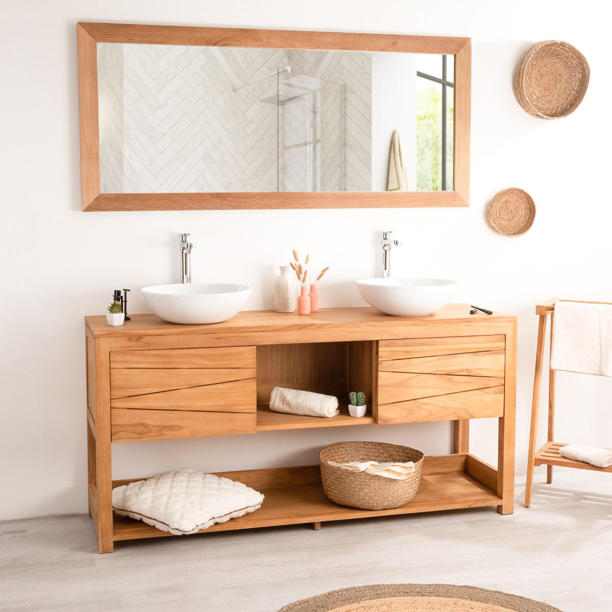 Mueble para lavabo doble de madera teca maciza cosy rect ngulo ancho 160 cm Mueble para lavabo