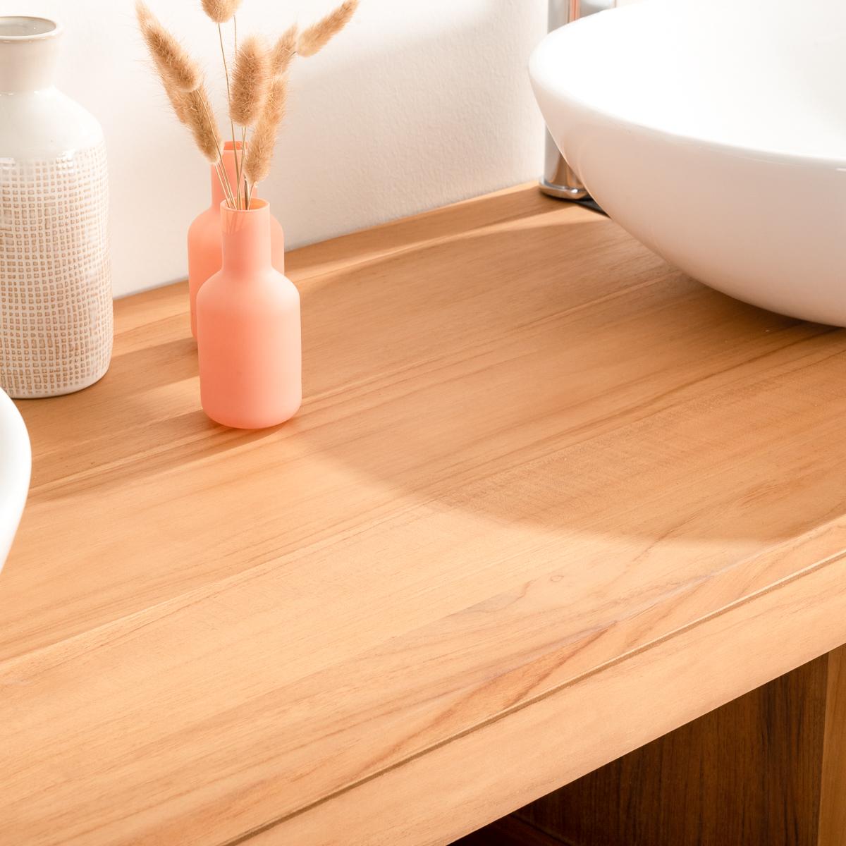 Mueble para lavabo doble de madera teca maciza cosy for Mueble de bano doble lavabo de madera