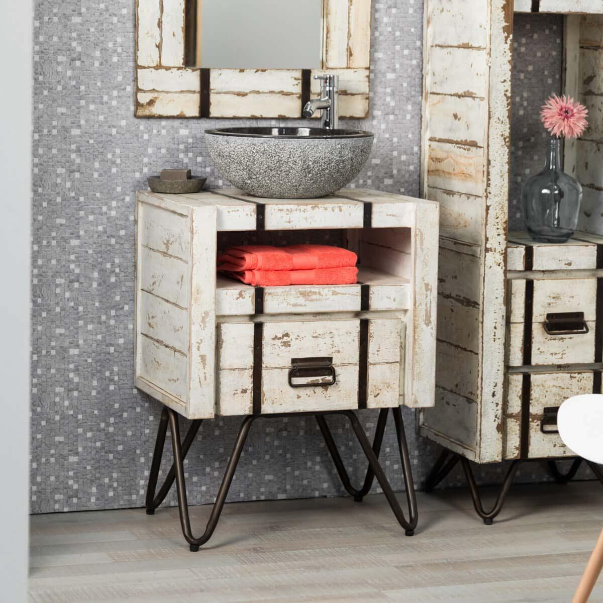 Mueble para lavabo (simple) de madera (mindi) maciza: Loft, blanco ...