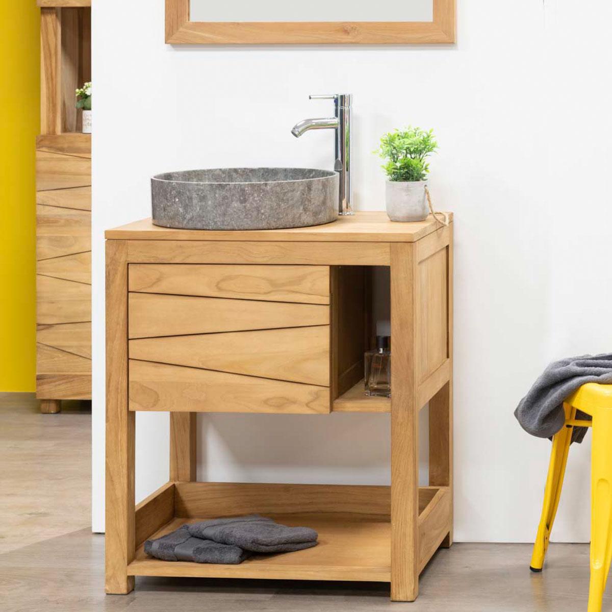 Mueble para lavabo simple de madera teca maciza cosy for Muebles de lavabo de 70 cm