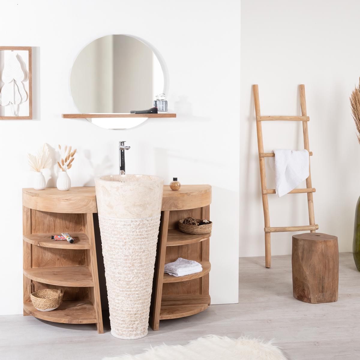 Mueble para lavabo simple de madera teca maciza for Mueble lavabo 120 cm