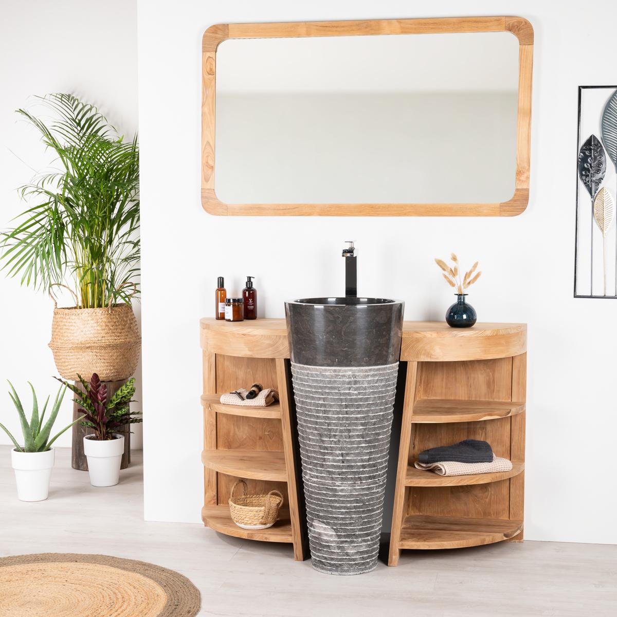 Muebles Para El Cuarto De Bano.Mueble Para Cuarto De Bano De Teca Florencia 120 Cm Lavabo Negro