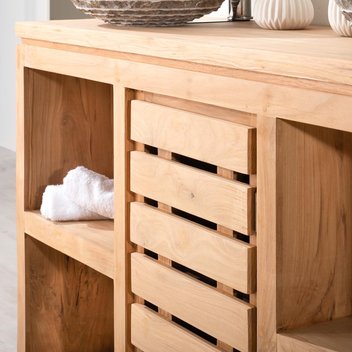Mueble para lavabo doble de madera teca maciza natura for Muebles de bano de madera maciza natural