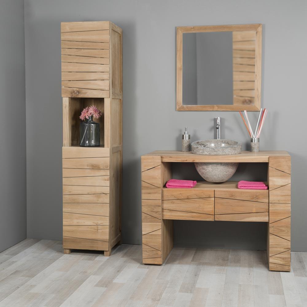Mueble para cuarto de baño de teca RELAX 110 cm + lavabo gris