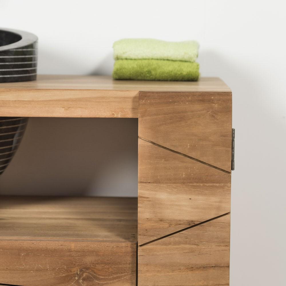Mueble para cuarto de baño de teca RELAX 110 cm + lavabo negro