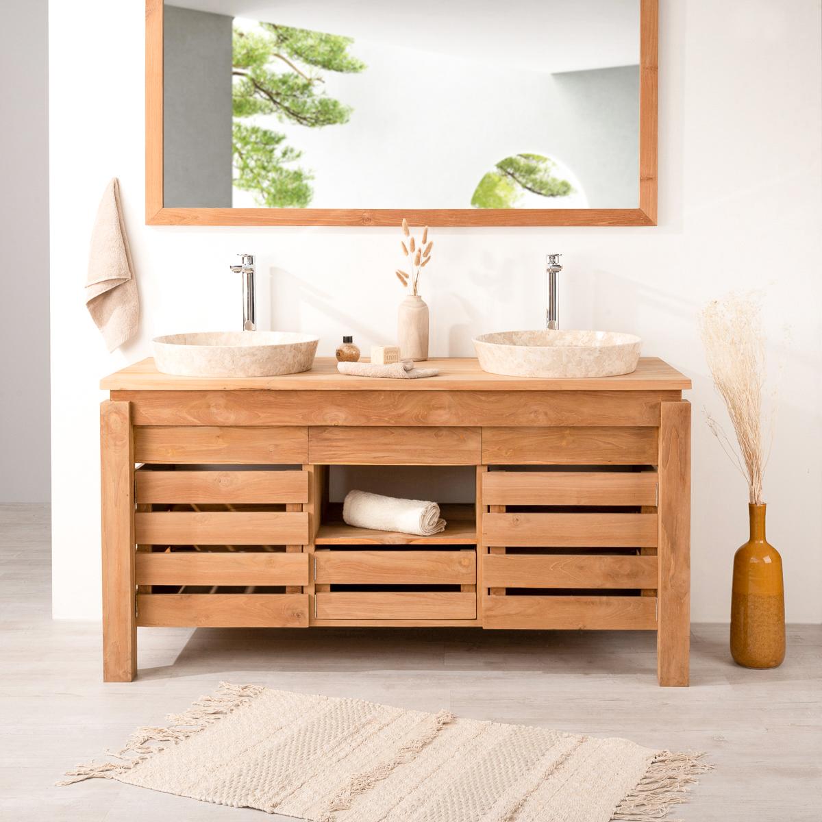 Mueble para lavabo doble de madera teca maciza zen for Mueble lavabo madera