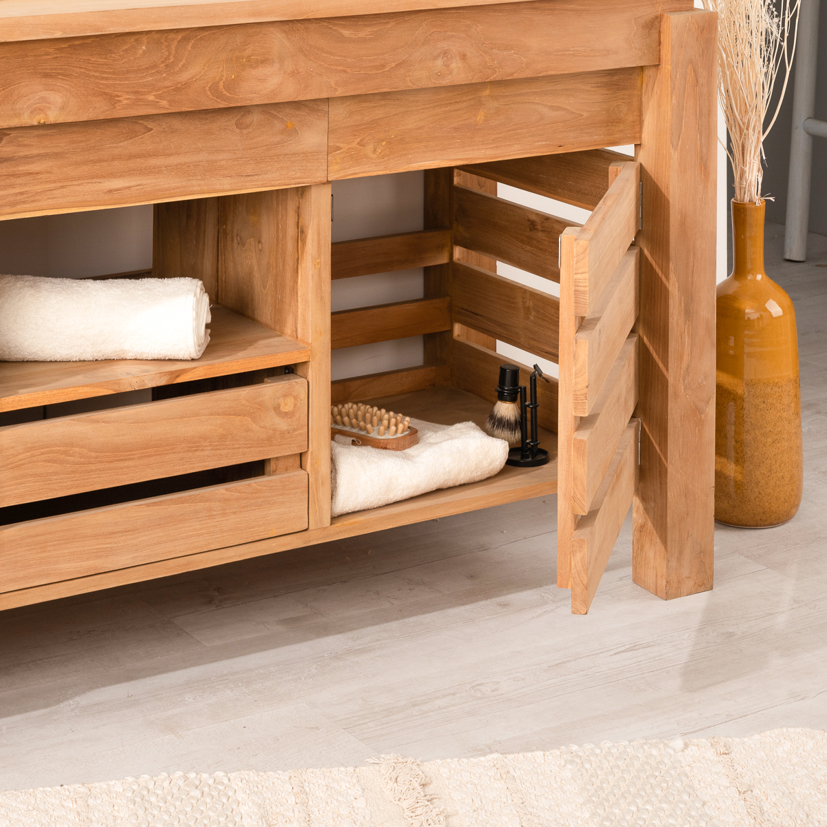Mueble para cuarto de baño de teca ZEN doble lavabo 17 cm