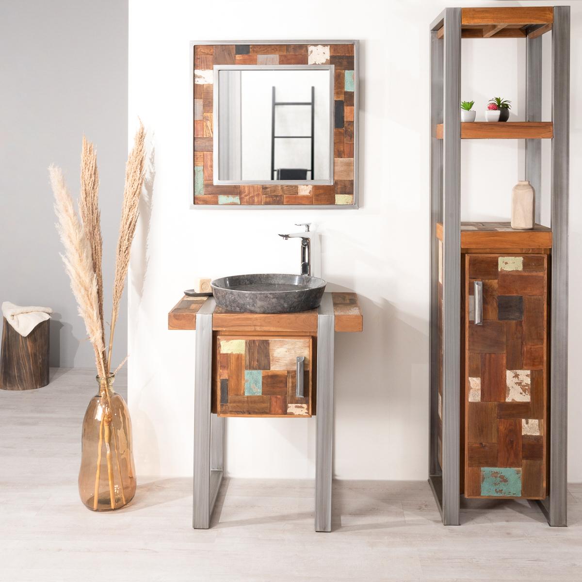 Mueble para cuarto de ba o factory teca metal 70 cm for Muebles de lavabo de 70 cm