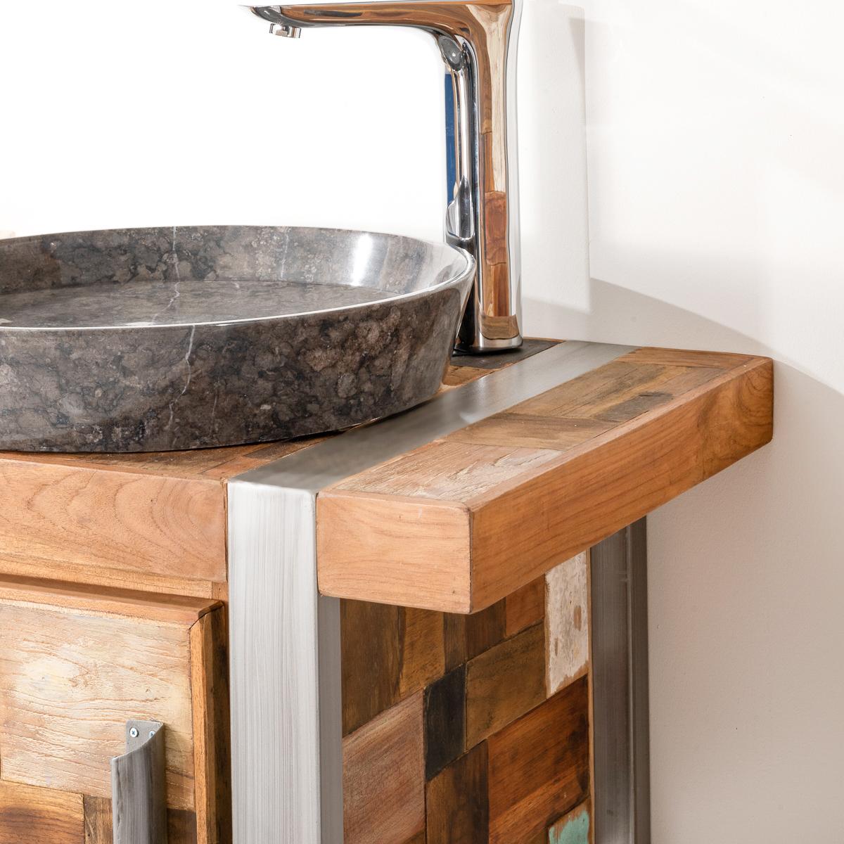 Mueble para cuarto de ba o factory teca metal 70 cm for Mueble recibidor 70 cm