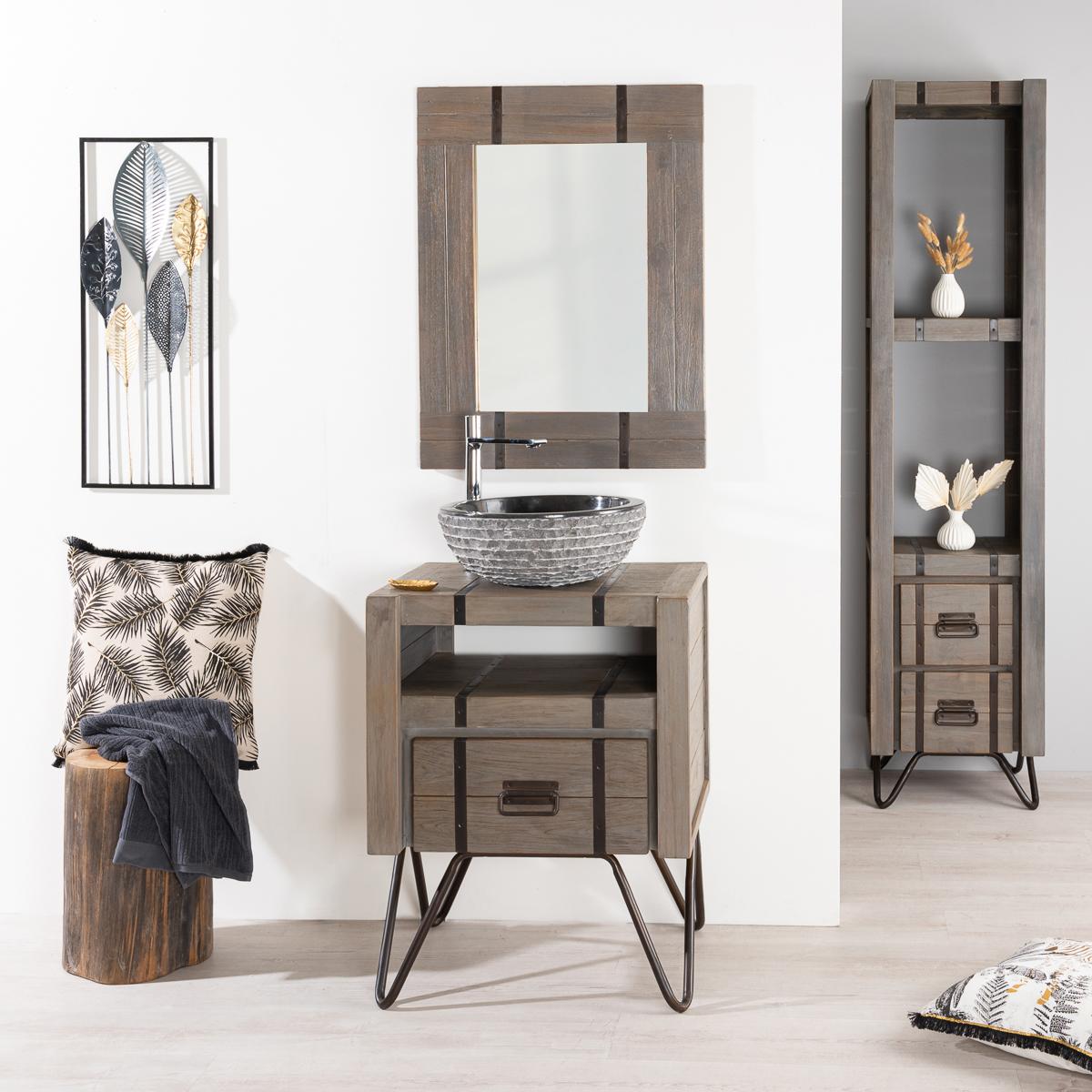 Mueble para cuarto de baño LOFT de mindi y metal 60 cm gris