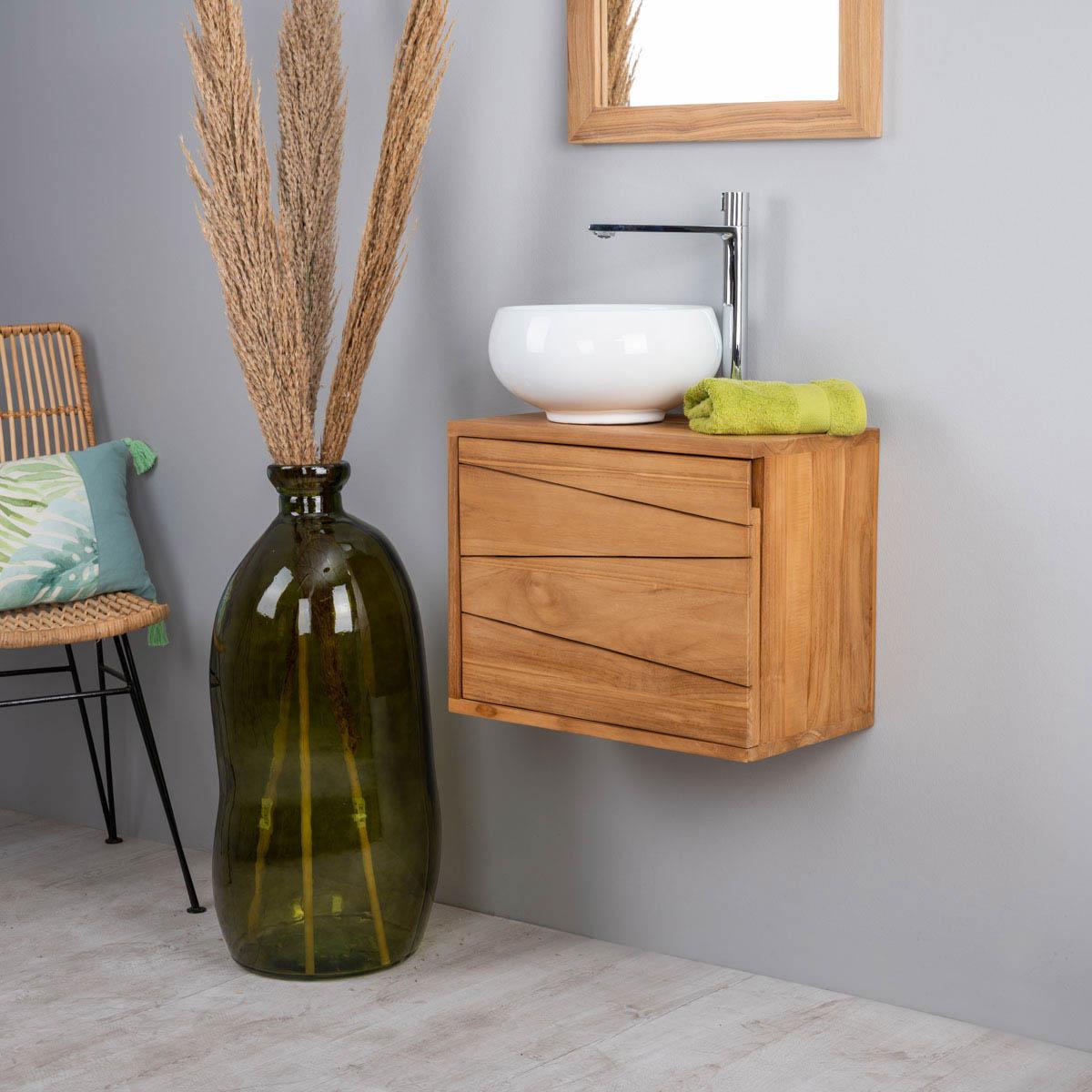 Mueble suspendido para lavabo (simple) de madera (teca) maciza: Cosy ...