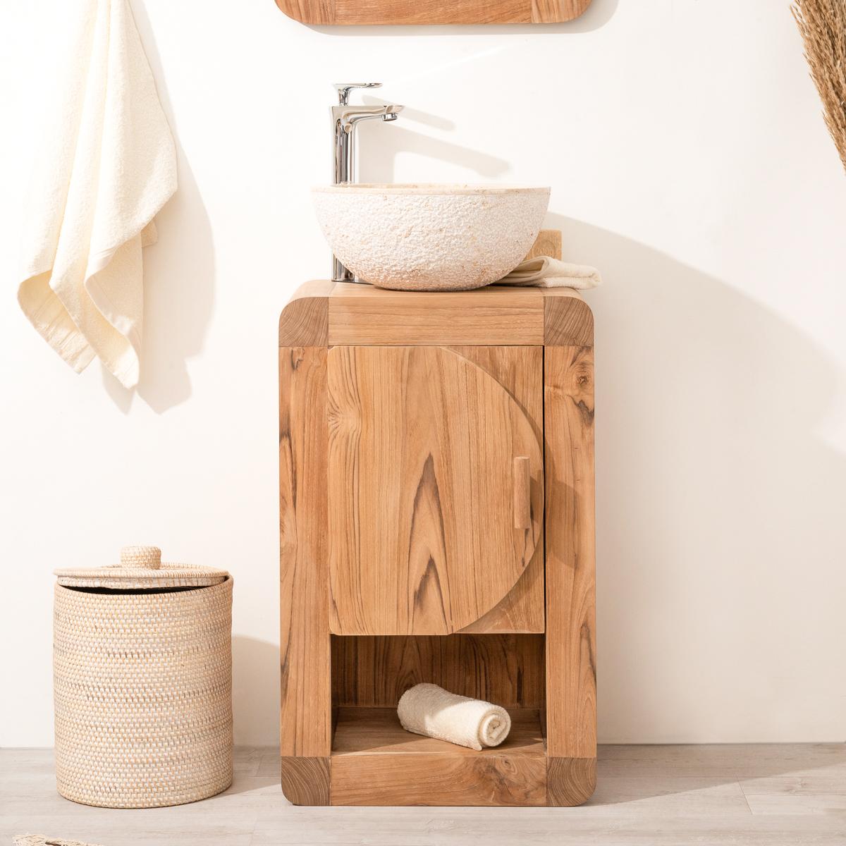 Mueble para lavabo simple de madera teca maciza for Muebles de bano de madera maciza natural