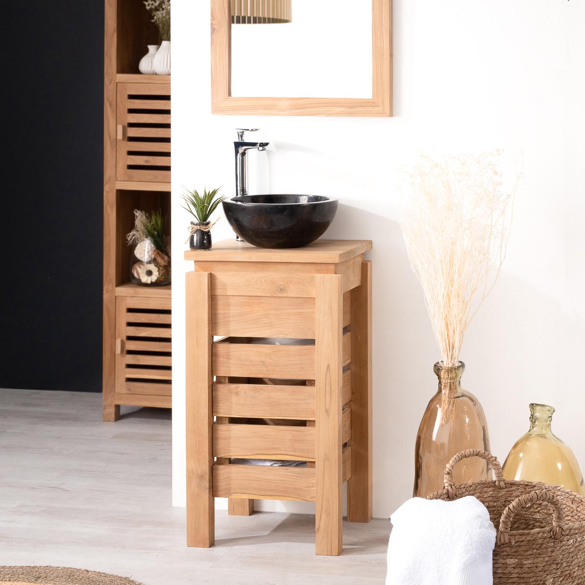 Mueble peque o para cuarto de ba o wc zen de teca 40 cm - Mueble lavabo pequeno ...